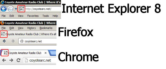 CARC favicon in various browsers