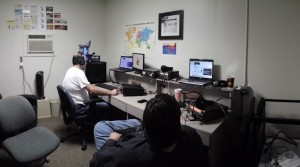 Panoramic image of the CARC shack during the CQ WPX RTTY contest made by Jim AB5JK. Don't blame me!