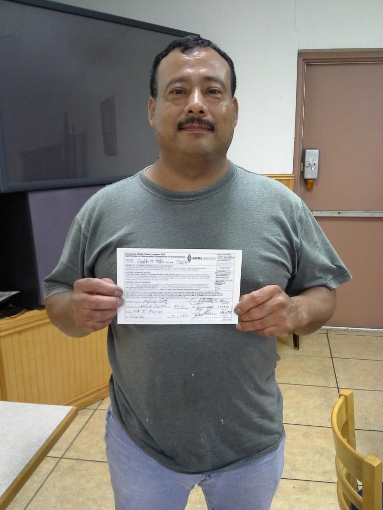 Alfredo Cortez of Uvalde passed the Technician test on July 22nd. Congratulations!